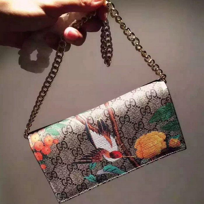 Gucci Blooms GG Superme Canvas Chain Wallet 424891