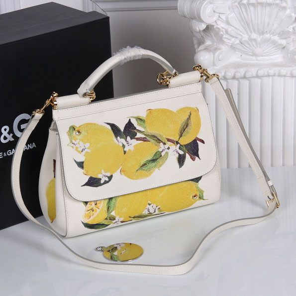 Dolce&Gabbana Medium Sicily Bag In Printed Dauphine Leather BB6003AI