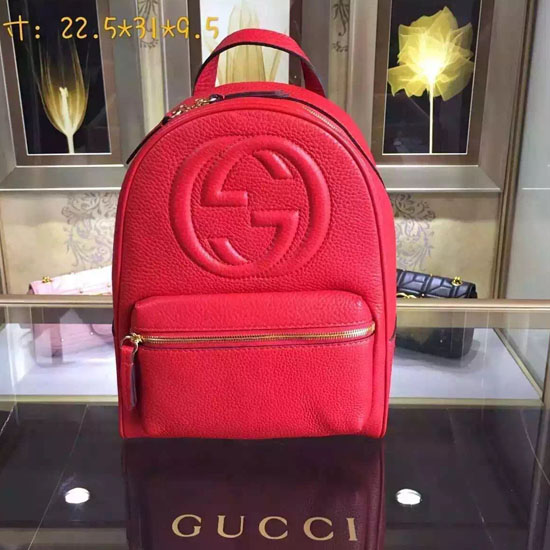 Gucci Soho Leather Chain Backpack Red 431570