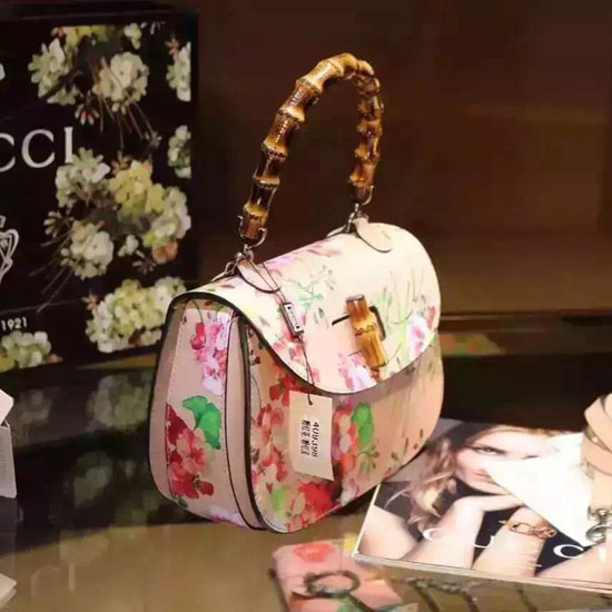 2b03e6462f8 Gucci Bamboo Classic Blooms Top Handle Bag 409398 Pink ...