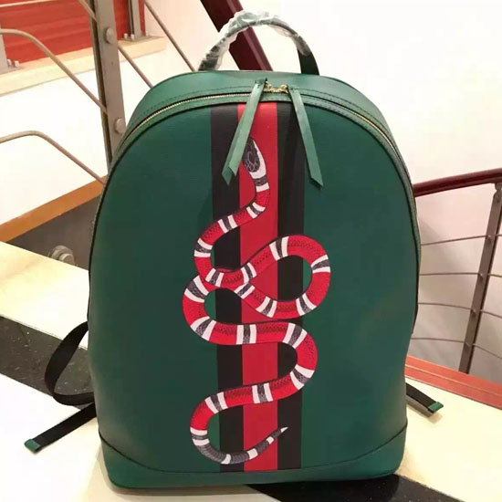 Gucci Web And Snake Leather Backpack 419584