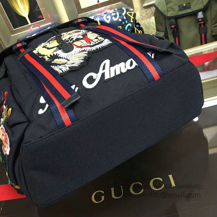 21dc1915b52 Gucci Black Techno Canvas Techpack With Embroidery 429037