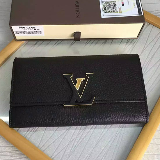 Louis Vuitton Taurillon Leather Capucines Wallet Noir M61471