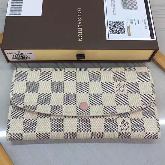 Louis Vuitton Damier Azur Canvas Emilie Wallet Rose Ballerine N41625