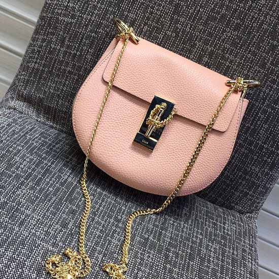 Chloe Drew Calfskin Shoulder Bag Cement Pink 181010