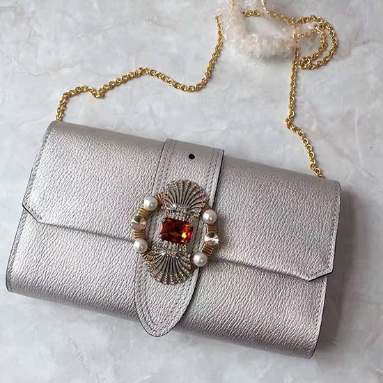 Miu Miu Crystal Goat Leather Clutch Bag Silver 5BF041