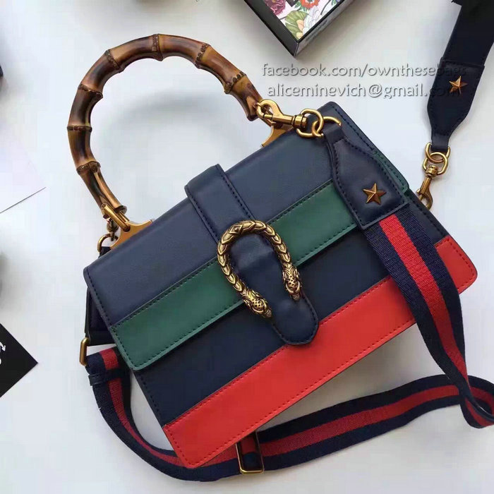 gucci dionysus leather top handle bag blue  green  red 448075