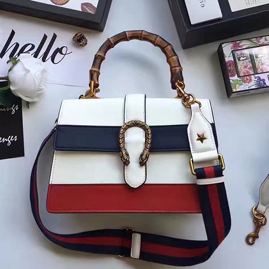 10f4999f910 Gucci Dionysus Leather Top Handle Bag White Blue Red 448075 ...
