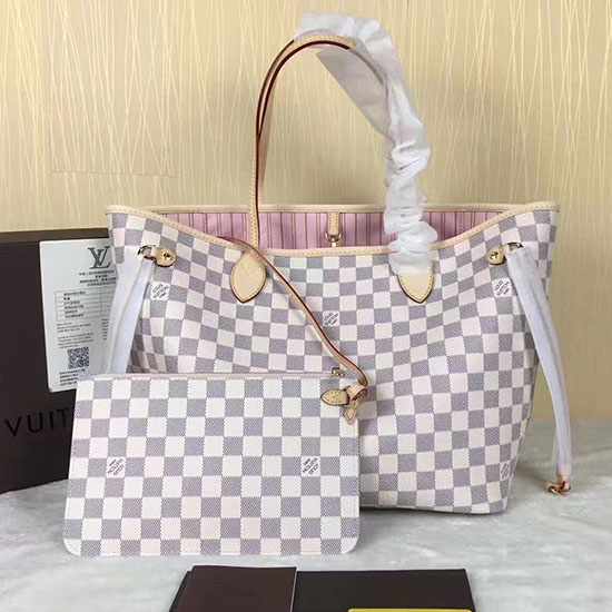 Louis Vuitton Damier Azur Canvas Neverfull MM N41605 Pink