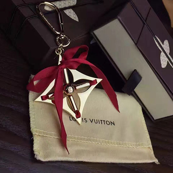 Louis Vuitton Ribbon Bag Charm Key Chain Red M61023