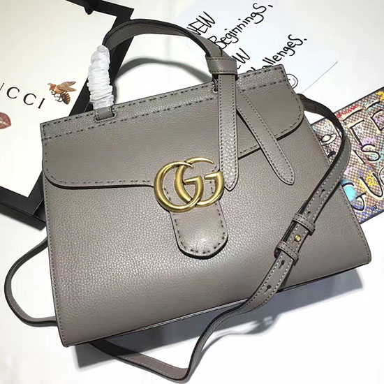 f4fc829b8f9 Gucci GG Marmont Leather Top Handle Bag Grey 421890   205.00  in Gucci Bags  · Gucci Flames Sylvie Gucci Signature Bag Black 431665 ...