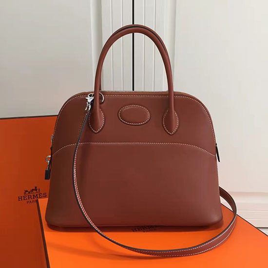 Hermes Bolide 31 Bag in Coffee Swift Leather HB3101