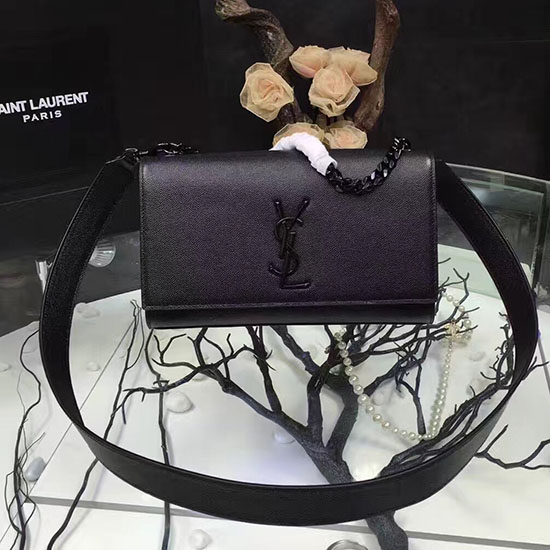 Saint Laurent Shoulder Bag in Black Grained Leather 354117
