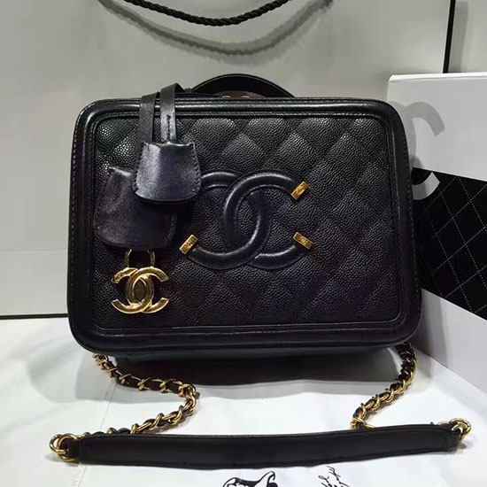 Chanel Cc Filigree Vanity Case Bag Black Grained Calfskin