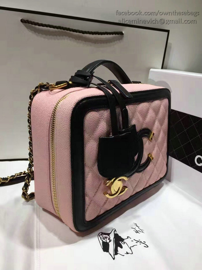 Chanel Cc Filigree Vanity Case Bag Pink Grained Calfskin