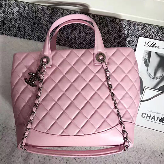 Chanel Quilted Lambskin Shopping Tote Bag Pink 260301
