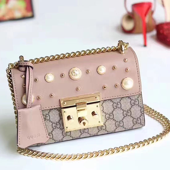 a679ca012809 Gucci Padlock Gg Supreme And Leather Shoulder Bag 432182 Coffee ...