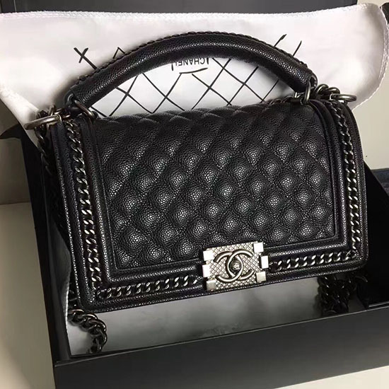 011bad2880cf Chanel Boy Bag With Handle In Calfksin A94812 Black | Stanford ...