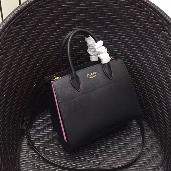 fae840388ded Prada Small Bibliotheque Saffiano Leather Bag Black and Pink 1BA050 ...