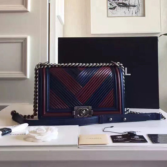Chanel Medium Chevron Lambskin Boy Bag Red and Blue A13044