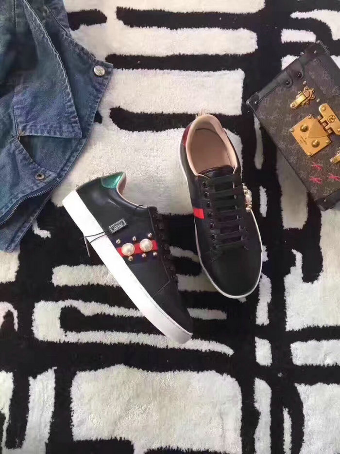 37e5b3505b7 Gucci Ace Studded Leather Low-top Sneaker Black 431887. Upper  Calf Leather  Lining  Sheep Leather Insole Sheep Leather Women Size  Euro 35~40