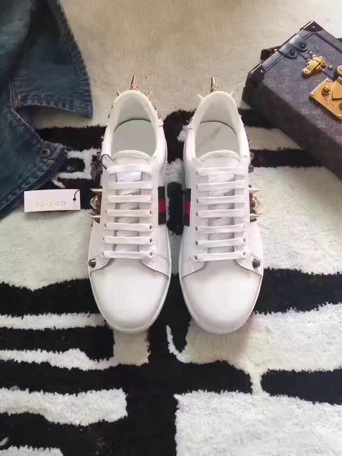48ebafc56fd Gucci Ace Studded Leather Low-top Sneaker White 431908. Upper  Calf Leather  Lining  Sheep Leather Insole Sheep Leather Women Size  Euro 35~40