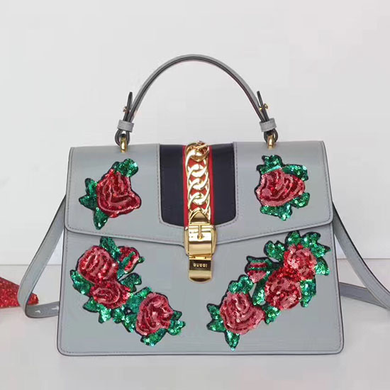 e77642622aa Gucci Sylvie Embroidered Leather Top Handle Bag Grey 431665 ...