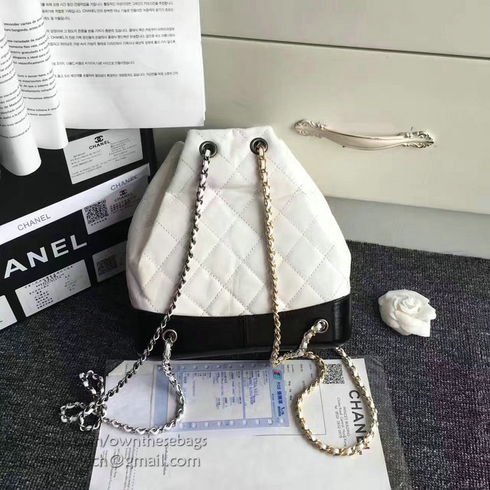 chanel chanel u0026 39 s gabrielle backpack white and black a94485