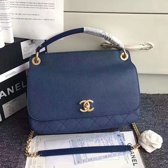 10da4a72d69908 Chanel Flap Bag With Top Handle Blue | Stanford Center for ...