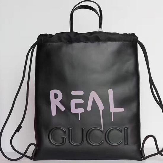 Gucci Guccighost Drawstring Backpack Black with Pink Print 474210