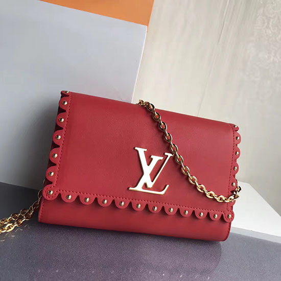 Louis Vuitton Smooth Calfskin Chain Louise MM Red M54584