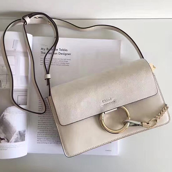 Chloe Faye Small Calfskin and Suede Shoulder Bag Grey 240602
