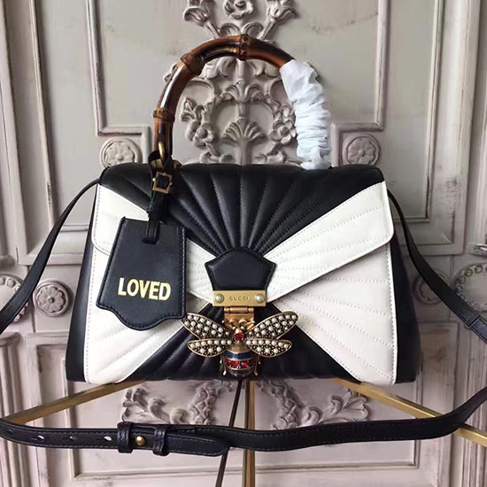 2c3264d3b91 Gucci Queen Margaret Quilted Leather Top Handle Bag Black and White 476531