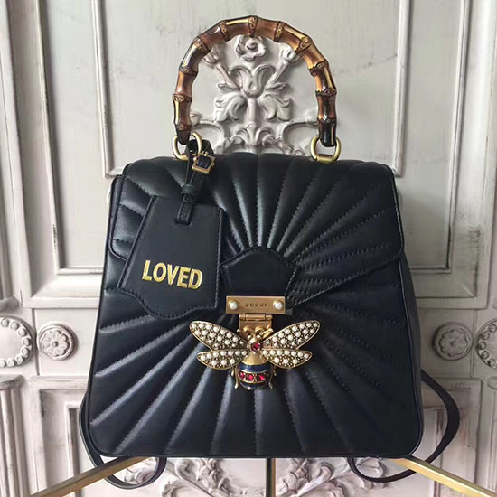 Gucci Queen Margaret Quilted Leather Backpack Black 476664