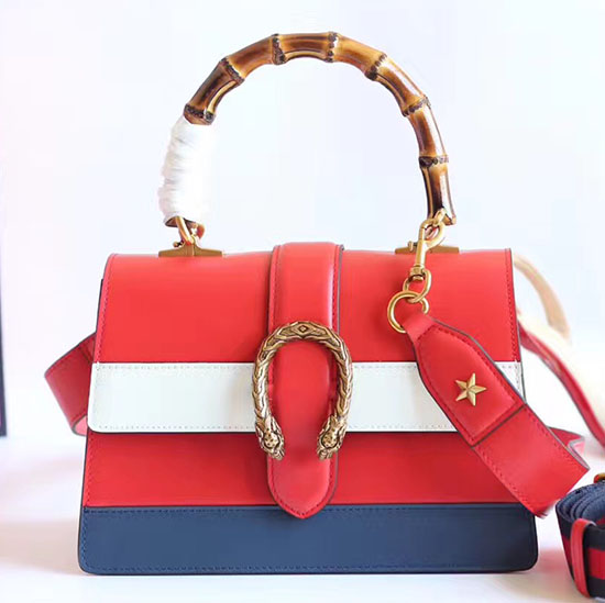 Gucci Dionysus Leather Top Handle Bag Red/White/Blue 448075