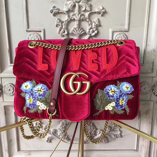 0bb9930c150 Gucci GG Marmont Embroidered Velvet Bag Red 443496 ...