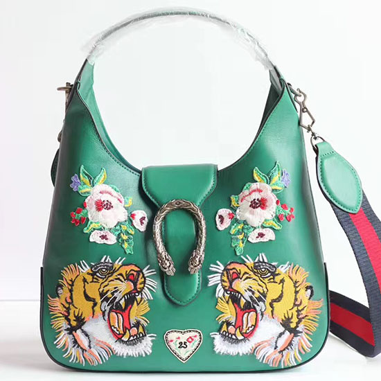 Gucci Dionysus Embroidered Small Leather Hobo Bag Green 444072