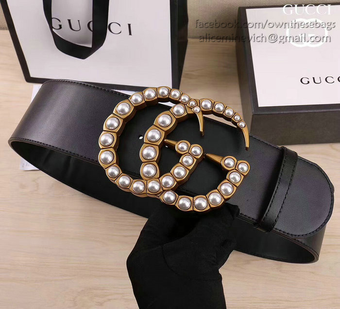 Gucci Wide Leather Belt With Pearl Double G 453261