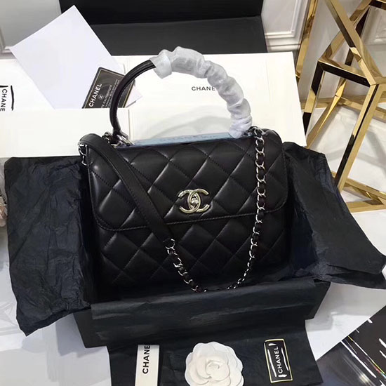 Chanel Lambskin Small Flap Bag With Top Handle Black A92236