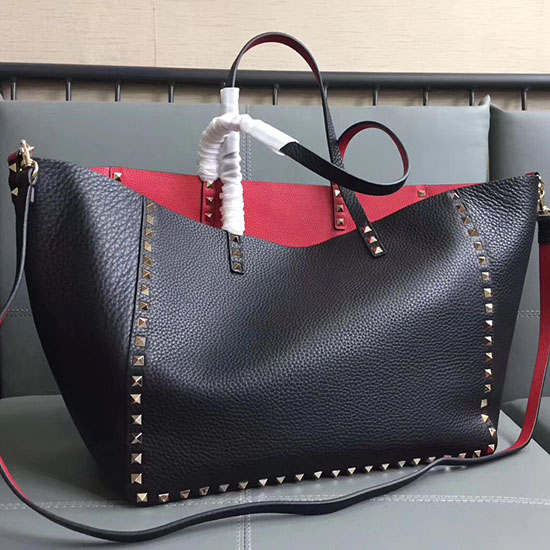 Valentino Guitar Rockstud Rolling Double Reversible Tote Black Red V0501