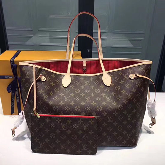 Louis Vuitton Monogram Canvas Neverfull GM M40990 with Red interior