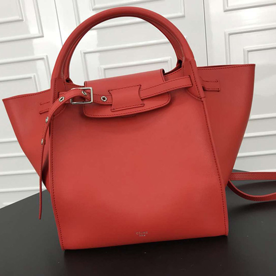 6f2cca2e09e Celine Small Big Bag With Long Strap in Smooth Calfskin Red 183313