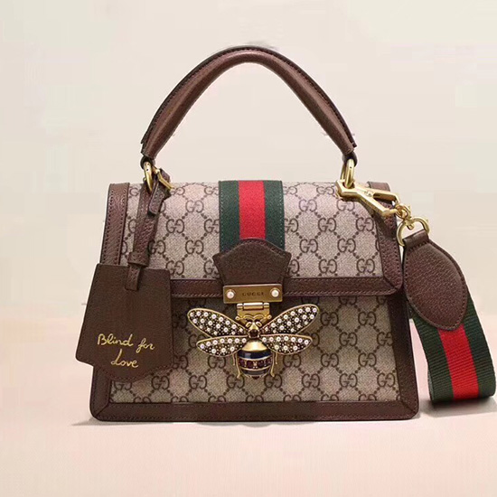 485cb8cb514 Gucci Queen Margaret GG Small Top Handle Bag Brown 476541