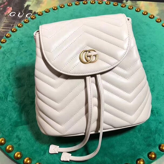 4ae602c3cea Gucci GG Marmont Matelasse Backpack White 528129 ...