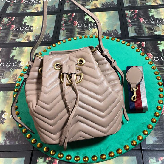 Gucci GG Marmont Leather Bucket Bag Nude 476674 ... 1513daf7d3992