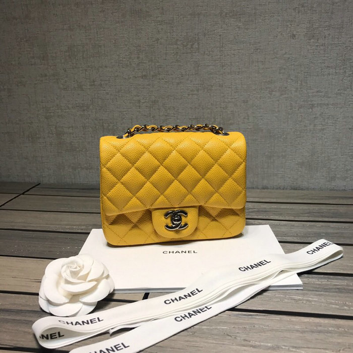 0fae81f79cf977 ... with Silver Hardware CF1115 Classic Chanel Caviar Leather Mini Flap Bag  Yellow with Silver Hardware CF1115 - Caviar Leather Size: W17 (1