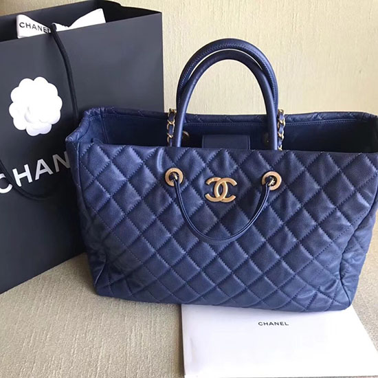 Chanel Grained Calfskin Large Shopping Bag Blue A01121